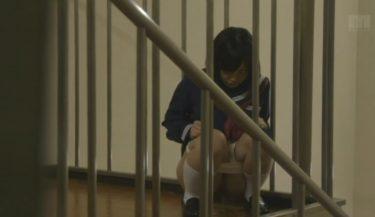 校内で露出する変態JCちゃんが階段で放尿(マーキング)